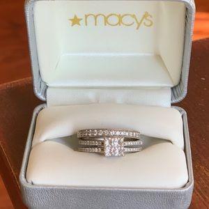 Two Diamond Rings- wedding band /engagement ring